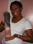 Dija loves the wrapping paper as much as her purchase inNJ!